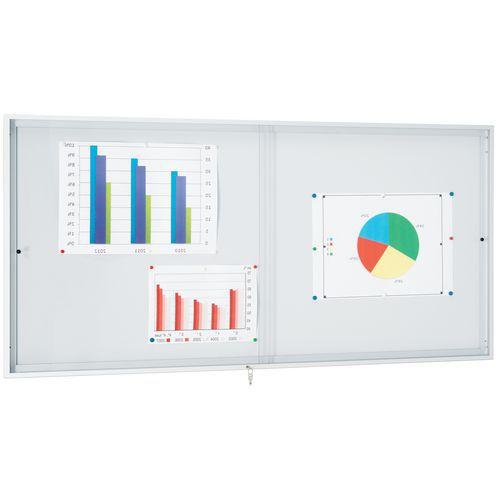 Vitrina de interior com portas corrediças – fundo em alumínio – Porta em plexiglas