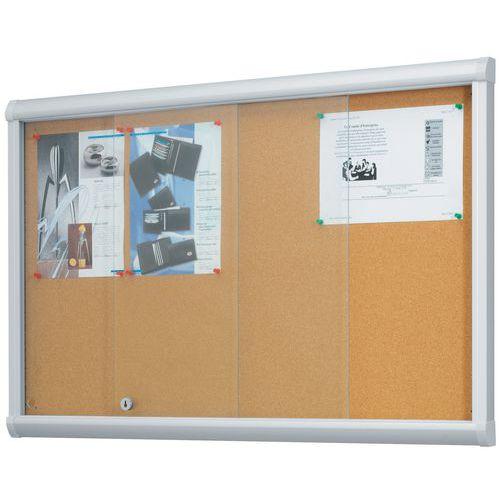 Vitrina de interior com portas corrediças Leader – fundo em cortiça – porta de segurança em vidro