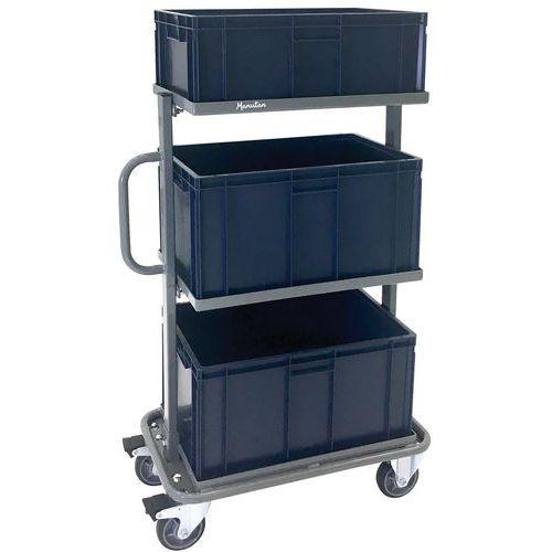 Carro de aço com caixas – capacidade de 200kg – Manutan