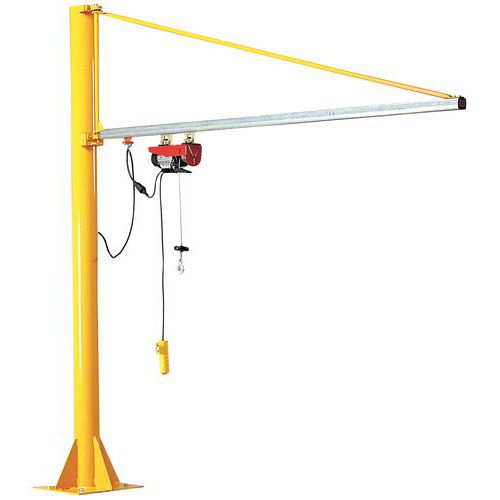 Grua de flecha triangular giratória de coluna - Capacidade 20 a 100 kg