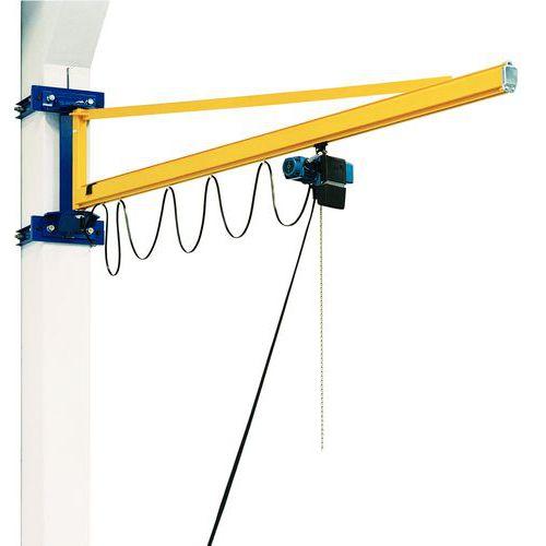 Grua de parede de flecha triangular + diferencial DC - capacidade de carga de 80 a 500 kg
