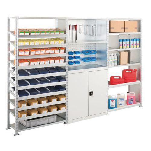 Kit de 3 estantes Advance: elementos de fixação, ferramentas e produtos de manutenção