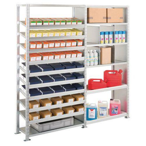 Kit de 2 estantes Advance: elementos de fixação e produtos de manutenção
