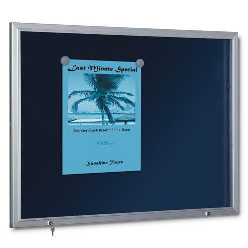 Vitrina de interior e exterior azul – fundo em alumínio – porta em plexiglas
