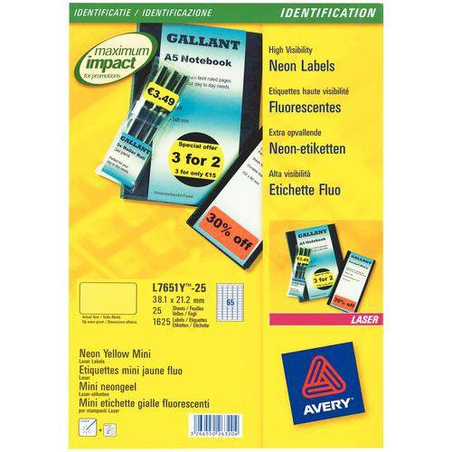 Etiqueta fluorescente reposicionável Avery – Impressão a laser