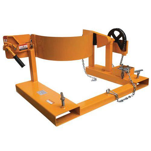 Basculador de bidões com redutor – Capacidade: 360kg – Para empilhador com garfos