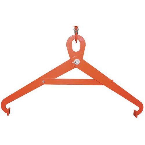 Pinça horizontal com 2 braços para bidões – Capacidade de 500 kg