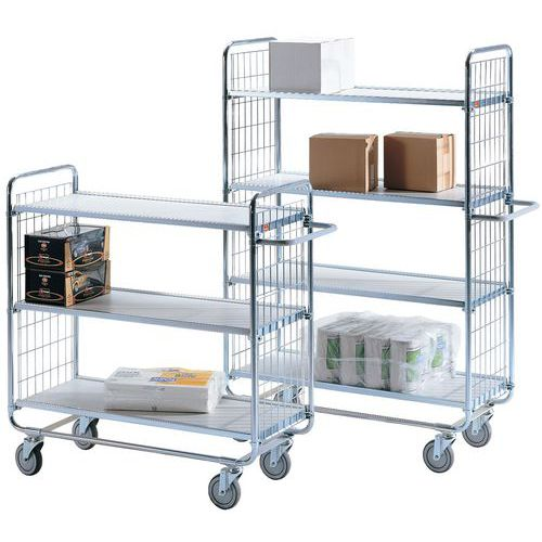 Móvel de apoio com plataformas em madeira com acabamento plástico – 4 plataformas – Capacidade de carga: 200 k