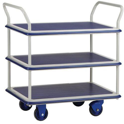 Carro de plataformas em metal - 3 plataformas - Capacidade de 150 kg