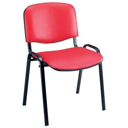 Cadeira para visitas Fancy - Vinil - Estrutura em preto - Manutan