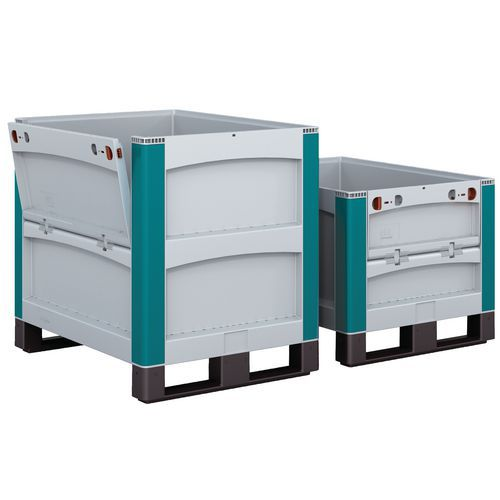 Caixa-palete SL86 - Paredes integrais - Com sapatas - 1 face lateral rebatível