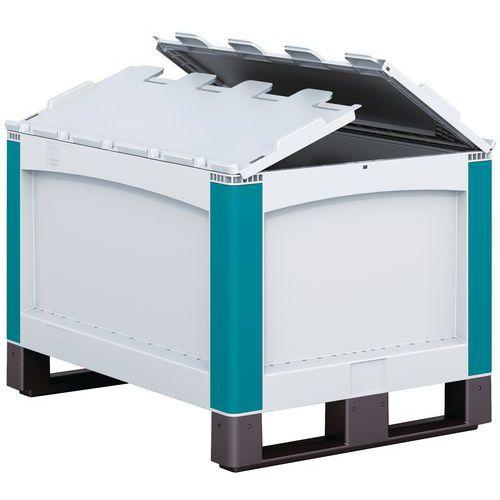 Caixa-palete SL86 - Paredes integrais - Com sapatas - Tampa de 2 abas rebatível
