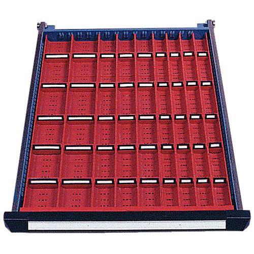 Solução de arrumação para gaveta Function - 12 calhas longitudinais e 45 divisórias transversais.