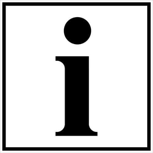 Pictograma de sinalização preto e branco – autocolante – informação