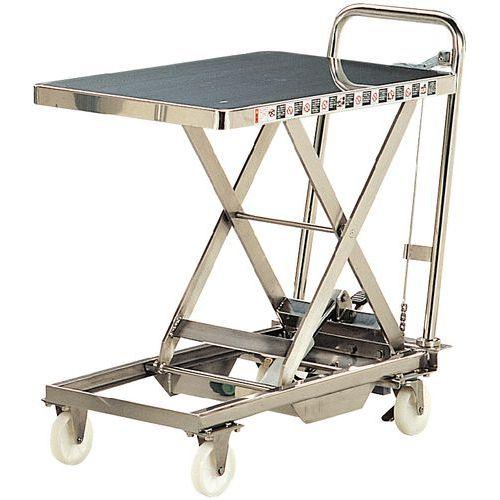 Mesa elevatória móvel em inox - Capacidade de carga de 100 e 200 kg