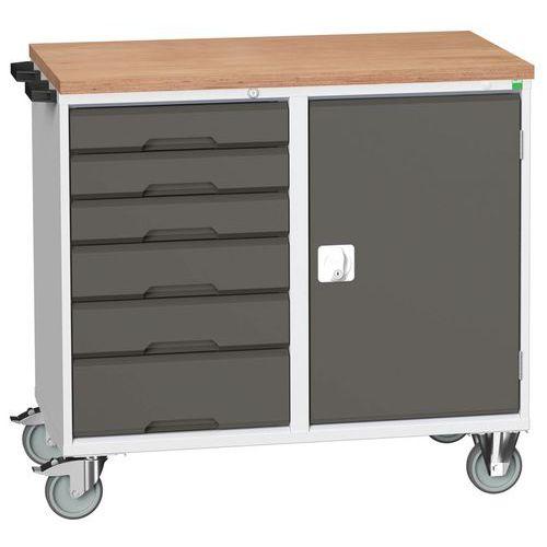 Bancada de trabalho móvel inferior com portas e gavetas