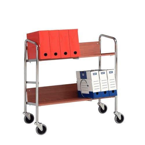 Carro para caixas de arquivo - 2 plataformas - Capacidade de 75 kg