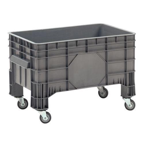 Caixa-palete empilhável - Paredes integrais - Com rodas