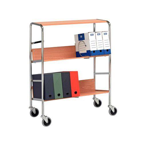 Carro para caixas de arquivo - 3 plataformas - Capacidade de 75 kg
