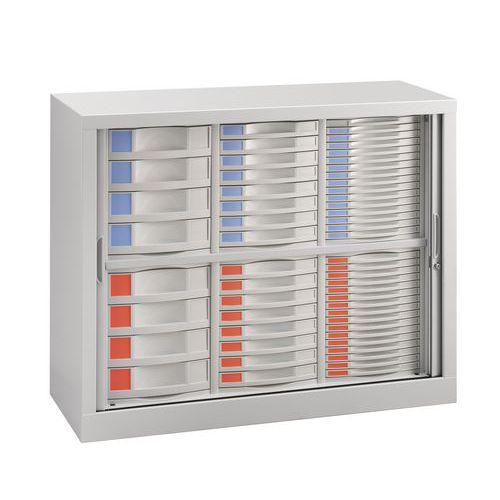 Armário com portas de persiana - 56 gavetas