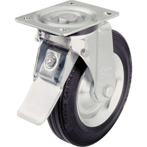 Rodízio giratório com placa e travão - Capacidade de 50 a 295 kg