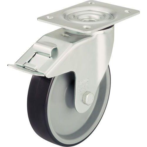 Rodízio giratório com placa e travão - Capacidade de 125 a 300 kg