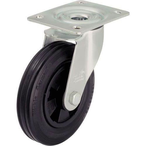 Rodízio giratório com placa - Capacidade de 50 a 295 kg - Preto