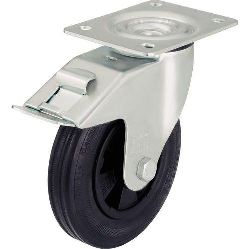 Rodízio giratório com placa e travão - Capacidade de 50 a 295 kg - Preto