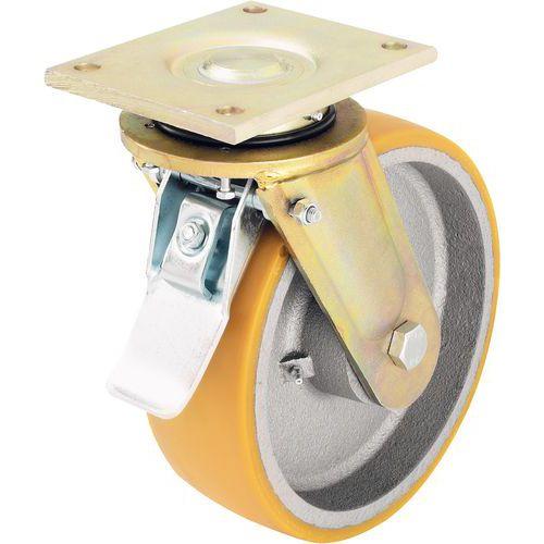 Rodízio giratório com placa e travão - Capacidade de 550 a 2.000 kg