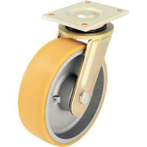 Rodízio giratório com placa - Capacidade de 550 a 3300 kg