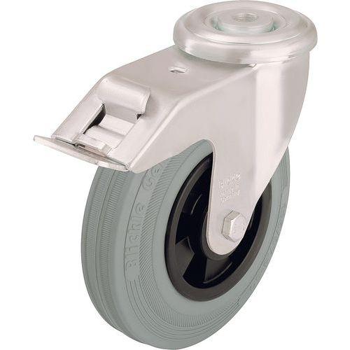 Rodízio giratório de olhal com travão - Capacidade de 50 a 205 kg - Cinzento
