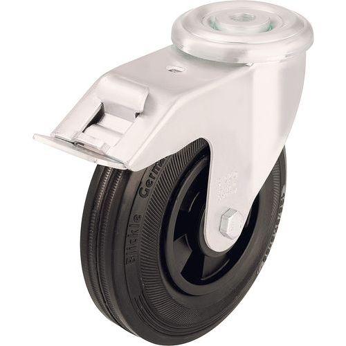 Rodízio giratório de olhal com travão - Capacidade de 50 a 205 kg - Preto
