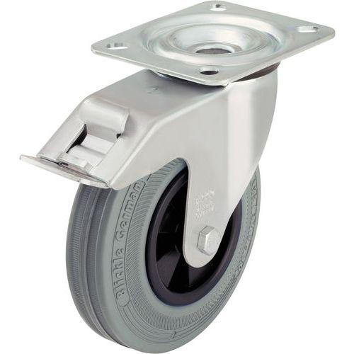 Rodízio giratório com placa e travão - Capacidade de 50 a 205 kg - Cinzento