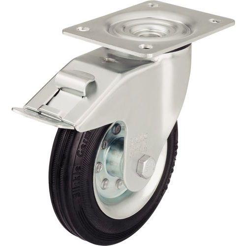 Rodízio giratório com placa e travão - Capacidade de 50 a 205 kg