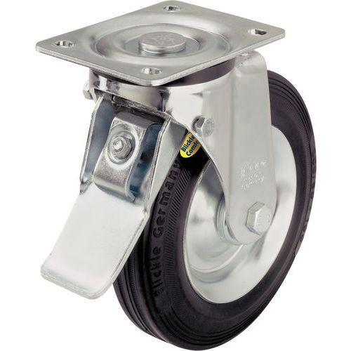 Rodízio giratório com placa e travão - Capacidade 100 a 600 kg