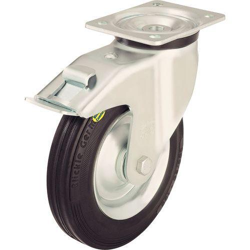 Rodízio giratório com placa e travão - Capacidade 100 a 350 kg