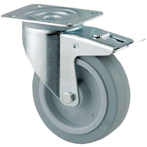 Rodízio giratório com placa e travão - Capacidade 150 a 400 kg