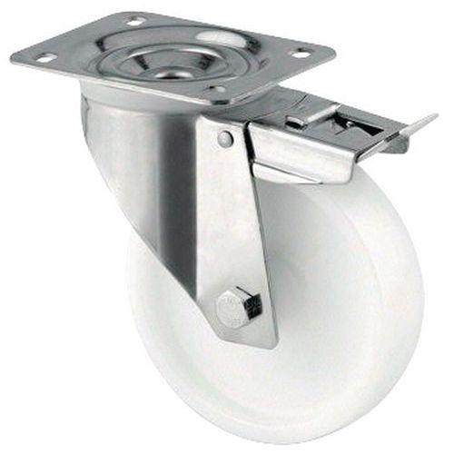Rodízio giratório com placa e travão - Capacidade de 200 a 400 kg