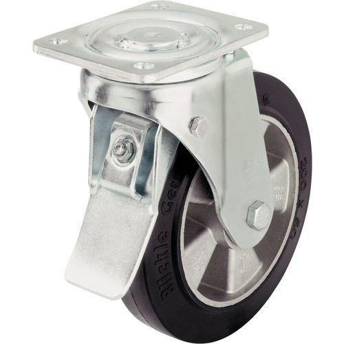 Rodízio giratório com placa e travão - Capacidade de carga de 180 a 550kg - Grande durabilidade
