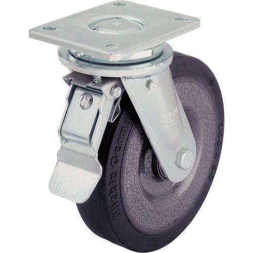 Rodízio giratório com placa e travão - Capacidade de 180 a 900 kg