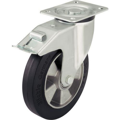 Rodízio giratório com placa e travão – Capacidade de carga de 180 a 550kg