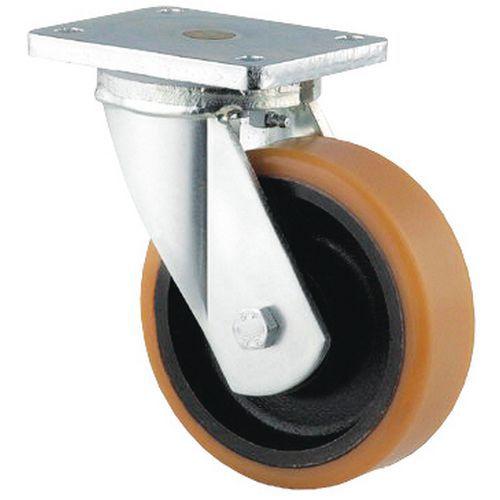 Rodízio giratório com placa - Capacidade 450 a 2000 kg - Com jante em ferro fundido