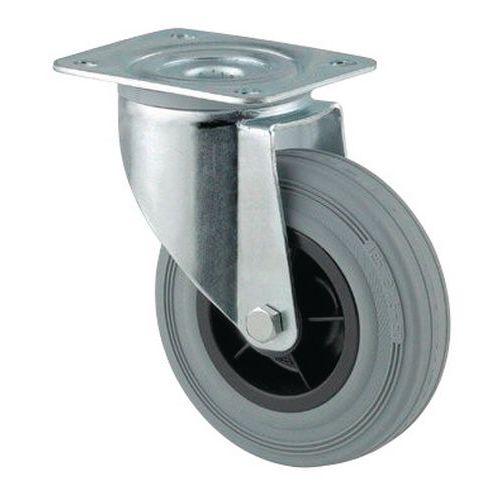 Rodízio giratório com placa - Capacidade de 70 a 205 kg - Cinzento