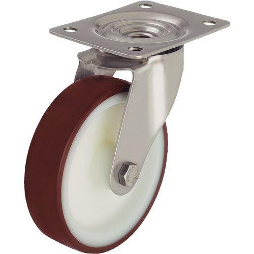 Rodízio giratório com placa - Capacidade de 150 a 400 kg