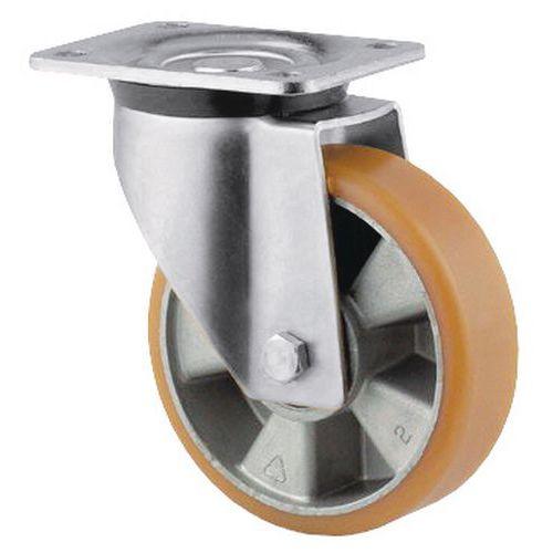 Rodízio giratório com placa – Capacidade de carga de 200 a 800kg - Com estrutura em alumínio