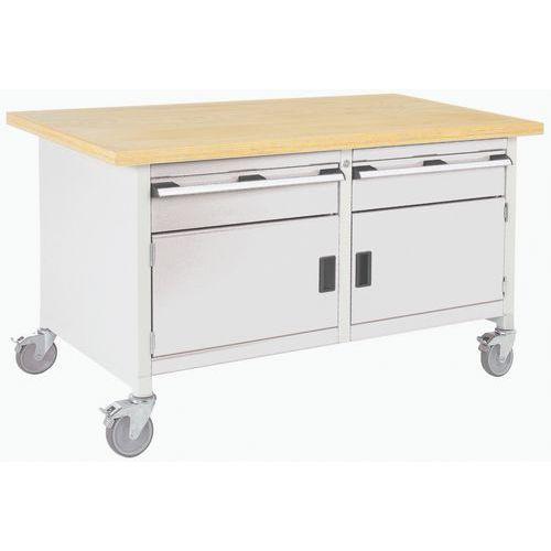 Bancada de trabalho monobloco com armário e gavetas