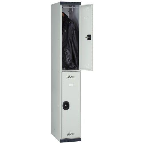 Cacifo com 2 compartimentos e cabides Seamline Optimum® – 1 coluna de 300mm de largura – Com base – Acial