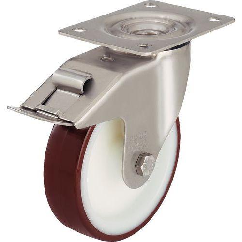 Rodízio giratório com placa e travão - Capacidade de 150 a 400 kg