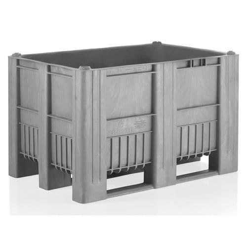 Caixa-palete de plástico cinzenta em monobloco – 3 sapatas