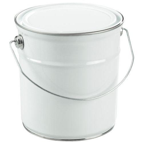 Balde metálico com tampa plana – branco – 2,5 a 5L